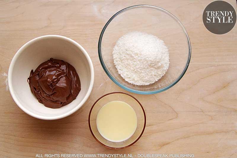 Chocolade balletjes met kokosvulling