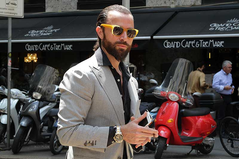 Milan Fashion Week Uomo zomer 2019. Street style mode