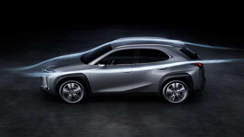 Vooruitstrevende aerodynamica voor nieuwe crossover Lexus UX