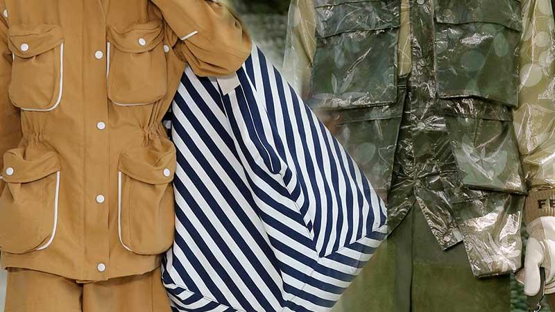Modetrends man lente zomer 2020. Jasjes met opgestikte zakken.