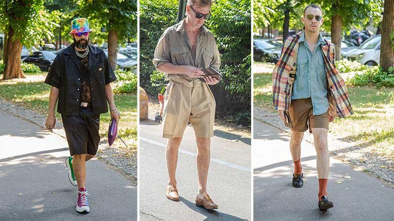Streetstyle mode man zomer 2020. 3x Korte broeken