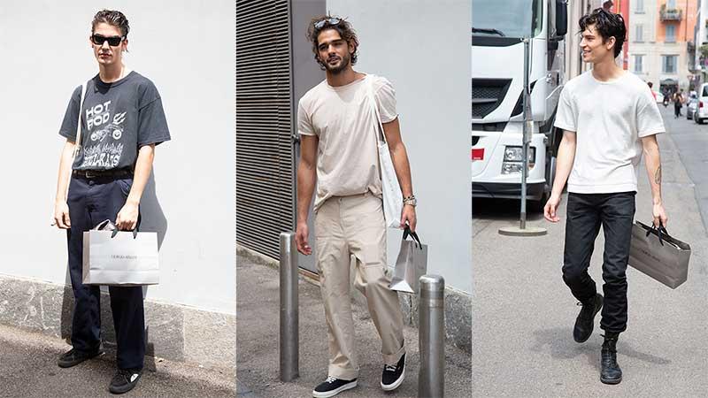 Streetstyle mode zomer 2020. Cool in spijkerbroek met T-shirt