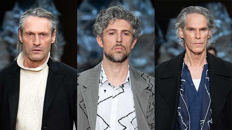 Haartrends man winter 2020. Lange, grijze haren zijn dé trend! Photo: courtesy of Neil Barrett